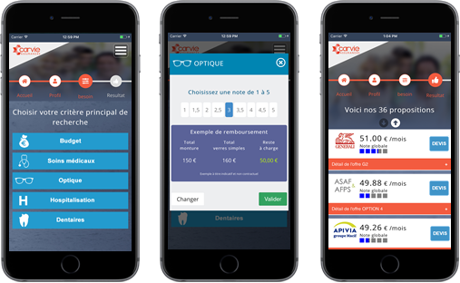 Application mobile comparateur mutuelle santé - carvie assurances